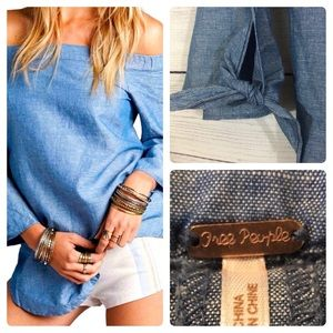 Free People Show  Me Your Shoulder Chambray Top